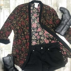 LADY DORBY Vintage Shimmer Floral Kimono Top 22W